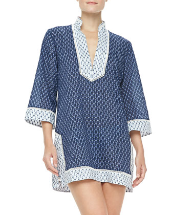 Boria Voile 3/4-Sleeve Coverup Tunic