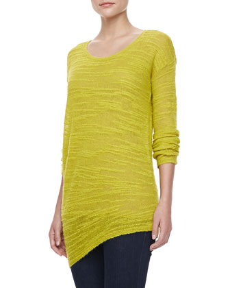 Long-Sleeve Slub Crewneck Sweater, Chartreuse