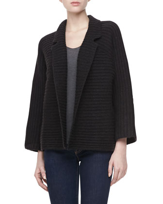 Long Sleeve Ribbed Knit Cardigan Coat, Black