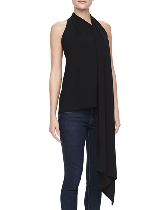 Scarf-Neck Top, Black
