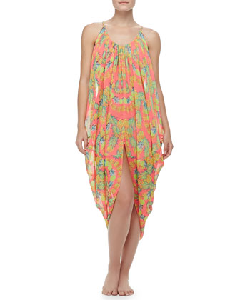 Gathered Sleeveless Cocoon Coverup, V-Neck Bandeau Top & Ruched-Side Swim ...