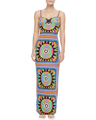 Strap-Back Column Coverup Maxi Dress