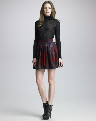 Pleated Bell Skirt with Pockets, Pomegranate