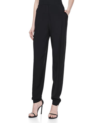 Pleated Front Tapered-Leg Trousers