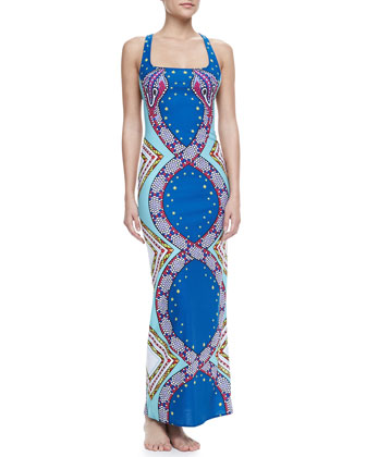 Printed Racerback Maxi Coverup Dress