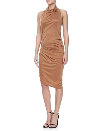 Mock-Neck Draped Dress