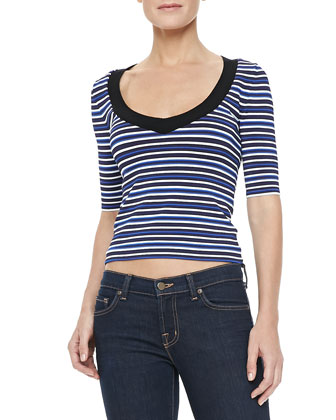 Harbor Top, Black/White/Blue Stripe