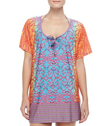 Bejeweled Jersey Short-Sleeve Tunic Coverup