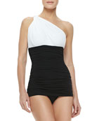 Bill One-Shoulder Ruched One-Piece Swimsuit