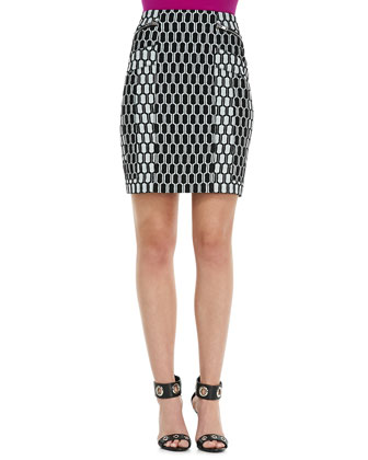 Maisy Contrast-Trim Blouse & Laury Honeycomb-Print Pencil Skirt