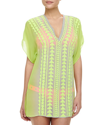 Gaudas Embroidered Long-Sleeve Tunic Coverup