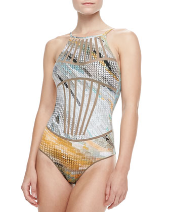 Printed Mesh One-Piece Swimsuit