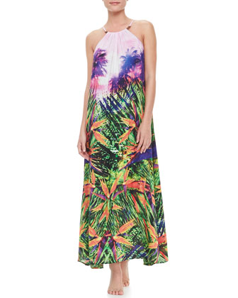 Rio Halter Maxi Coverup Dress, Oasis Print