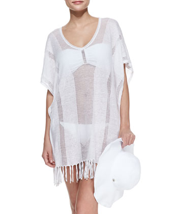 Lizzy Floppy Beach Hat & Sky Fringe-Hem Coverup