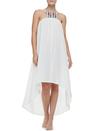 Paradiso Midi Embroidered High-Low Dress Coverup