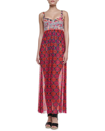 Blimey Mixed-Print Long Dress