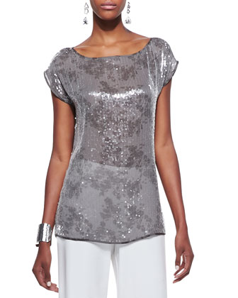 Clear Sequined Short-Sleeve Top & Modern Wide-Leg Pants, Women's