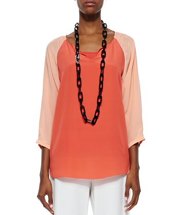 3/4-Sleeve Silk Colorblock Top, Red Lory/Papaya