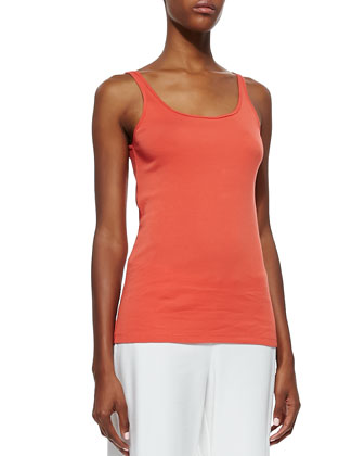 3/4-Sleeve Silk Colorblock Top, Organic Cotton Slim Tank & Modern Crepe ...