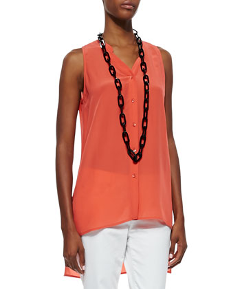 Button-Front Sleeveless Silk Top, Red Lory