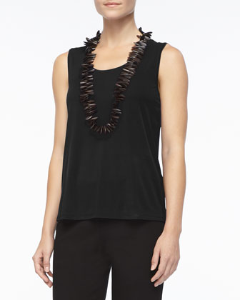 Stretch Silk Jersey Tank, Black