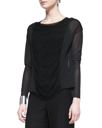 Long-Sleeve Paneled Mesh Top, Petite