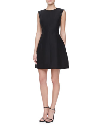 Satin Accent Shoulder Dress, Black