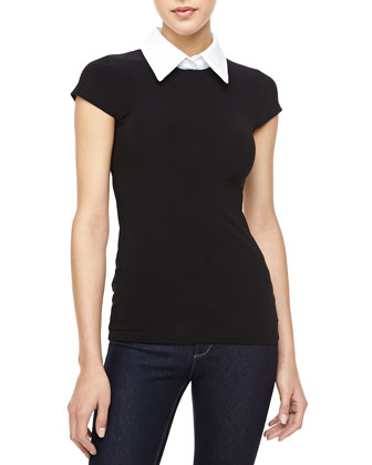 Lauren Contrast-Collar Top