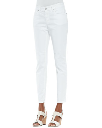 Organic Denim Skinny Ankle Jeans, White