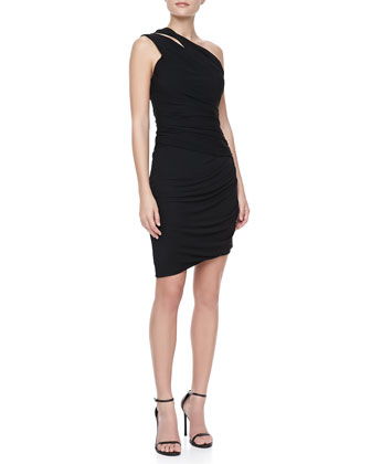 Ruched Slit-Shoulder Dress