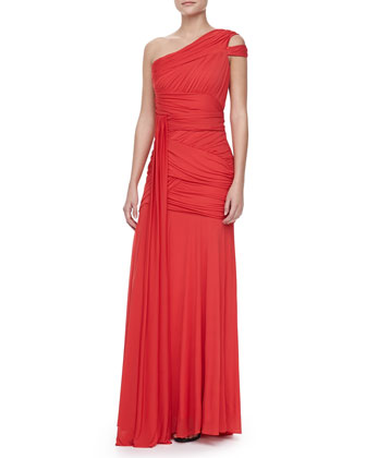One-Shoulder Bodice Gown, Vermillion