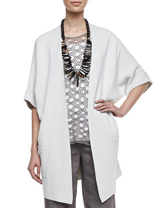 Silk-Cotton Interlock Jacket, Silk Jersey Tank, Linen Corded Sheen Shell & ...