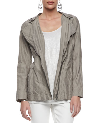 Rumpled Hooded Zip-Front Jacket, Petite