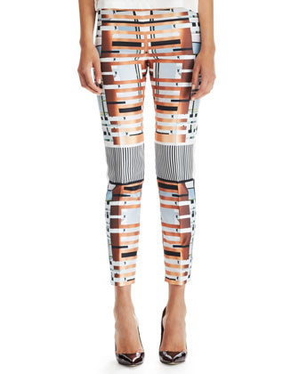 Mixed-Print Slim Pants