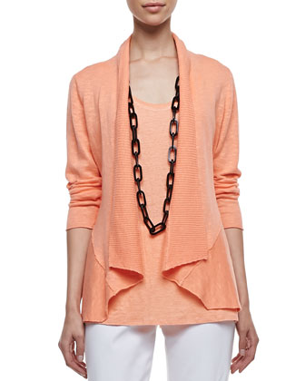 Linen Cotton Slub Cardigan, Jersey Scoop-Neck Tank & Twill Slim Ankle ...