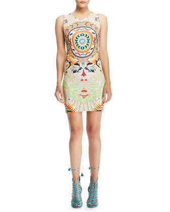 Formfitting Mixed-Print Dress