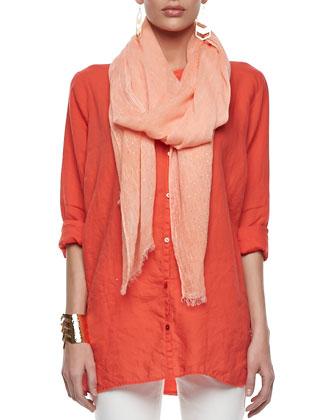 Organic Linen Long-Sleeve Tunic, Tinted Sparkle Scarf & Organic Skinny ...