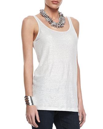 Metallic Zipper-Cuff Jacket, Organic Linen Jersey Shimmer Tank, Tinted ...