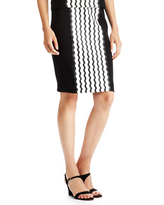 Wave Crepe Pencil Skirt