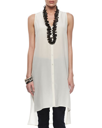 Linen Mesh V-Neck Tunic, Silk V-Neck Long Dress & Stretchy Jean Leggings ...