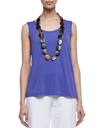 Stretch Silk Jersey Tank, Iris