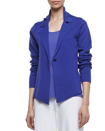 Interlock One-Button Jacket, Stretch Silk Jersey Tank & Wide-Leg Stretch ...