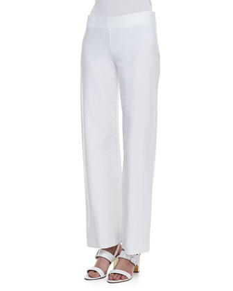 Modern Wide-Leg Stretch Crepe Pants, Women's