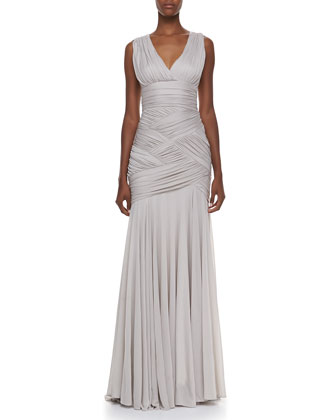 Ruched Woven Gown