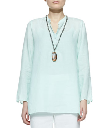 Organic Linen Long-Sleeve Tunic & Linen-Blend Straight-Leg Trousers, Petite