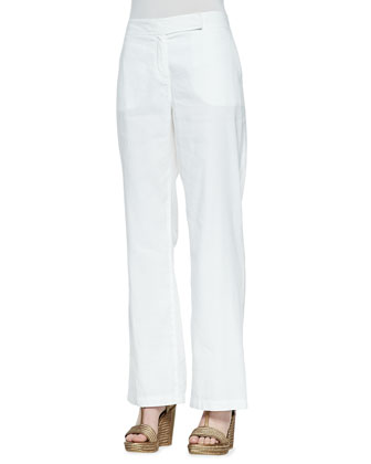 Linen-Blend Straight-Leg Trousers, Women's