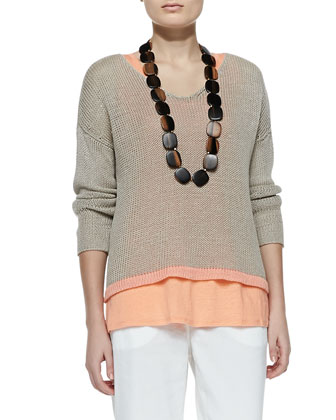 Linen Colorblock Box Top, Women's