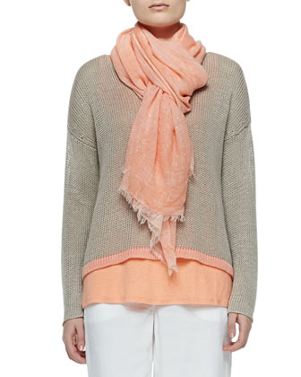 Linen Colorblock Box Top, Organic Linen Tank, Tinted Sparkle Scarf & ...