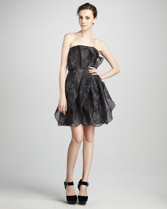 Strapless Printed Organza Dress