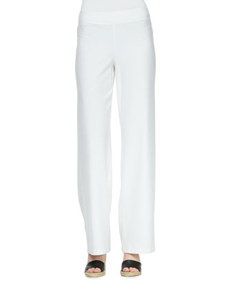 Melange Linen-Blend Cardigan, Silk Jersey Tank & Modern Wide-Leg Pants, Petite
